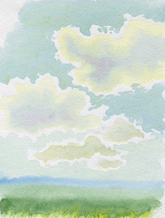 gently: Cloudy sky watercolor landscape