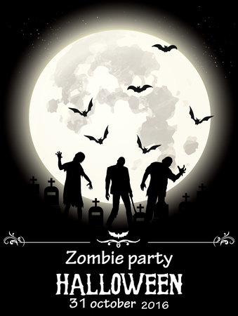 coming out: Zombies in the moonlight coming out of their graves