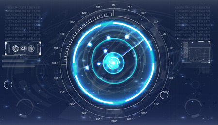 Vector illustration for your design. Technology background. Futuristic user interface. HUD.