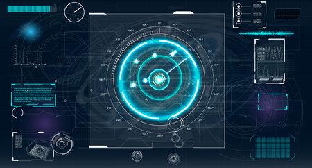 dashboard: Radar screen. Vector illustration for your design. Technology background. Futuristic user interface. HUD.