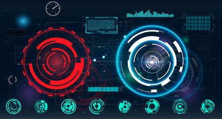 レーダー画面。あなたのデザインのベクトル イラスト。技術の背景。未来的なユーザー インターフェイス。HUD。