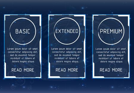 ui ux vector banner voor web-app. Pastel prijstabel, banner, bestelling, doos, knop, lijst en bullet met plan voor website. Interface voor de site