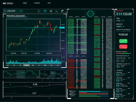 User interface of trading with infographic elements on dark background. vector illustration. Ilustrace