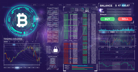 User interface of the future. Infographic elements.Crypto currency. Bitcoin.