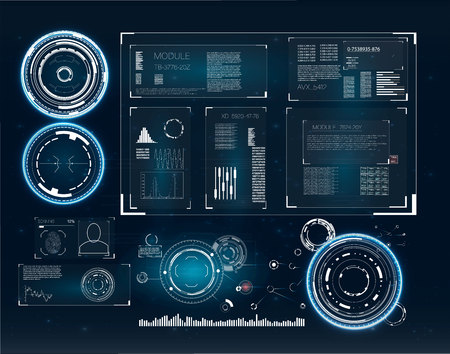 Vector radar screen. Future technology display design. Illustration