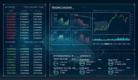 Stock market app vector illustration. Bitcoin exchange. Trade market.