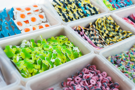 Counter which sells a large assortment of jelly candy photo