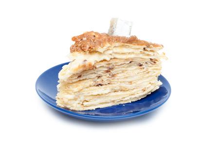 napoleon: Cake Napoleon isolated on a white background