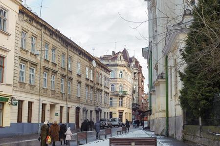 lvov: LVIV, UKRAINE - JANUARY 11, 2015: Beautiful cityscape of the center of old cuty Lvov, Ukraine