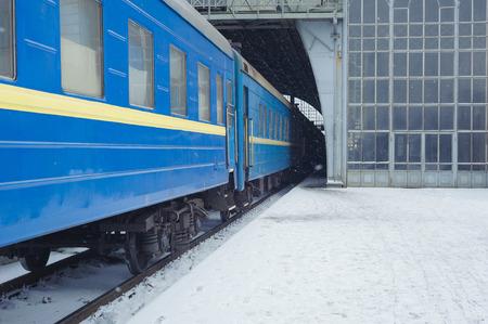 lvov: The train station at night winter. Lvov, Ukraine