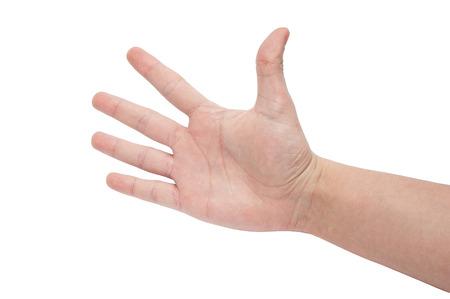 Main droite ouverte a montré cinq doigts isolé sur fond blanc