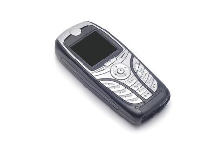 Eenvoudige zwarte mobiel op een witte achtergrond