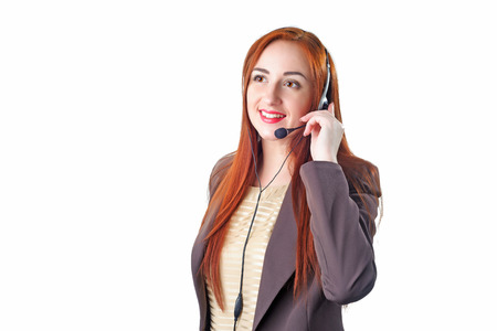 hot secretary: Call center operator redhead business woman. Isolated on white background. Stock Photo
