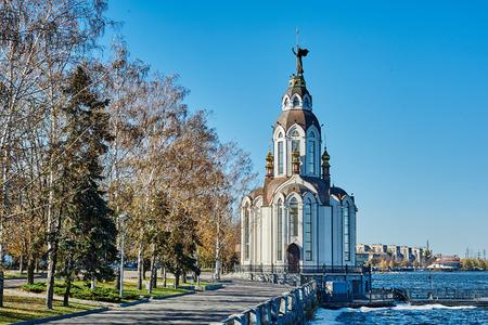 promenade: Church on the promenade. Dnipropetrovsk city Ukraine