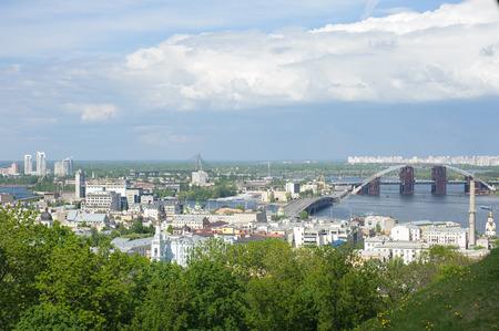 A view on bridge over the river Dniper. Kyiv, Ukraine