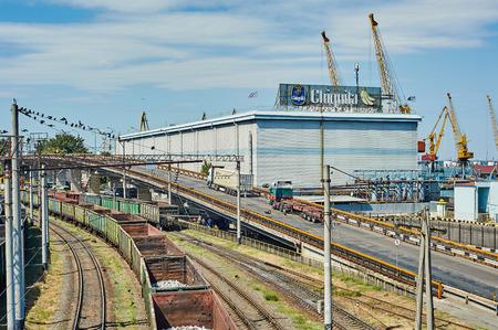 substructure: Odessa, Ukraine - August 31, 2015: Odessa port railway infrastructure, cargo terminal. Odessa, Ukraine