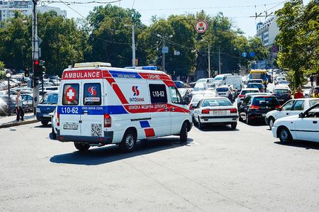 emblem of ukraine: Odessa, Ukraine - August, 31, 2015: Ambulance van in Odessa, Ukraine Editorial