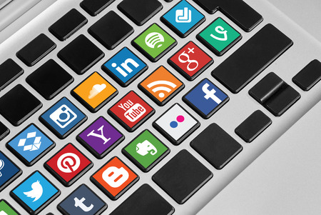 flickr: KRIVOY ROG, UKRAINE - OCTOBER 20, 2015: A social media icons collection placed on computer keyboard.