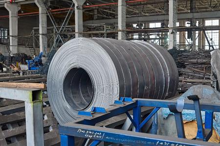 steel sheet: Rolls of steel sheet in a plant