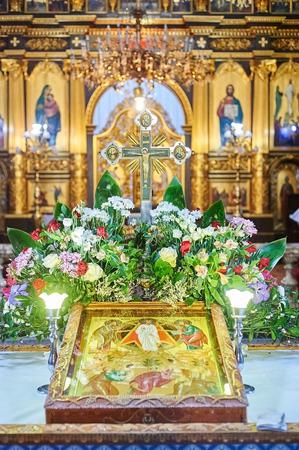 christian altar: Christian cross at the Altar Of A Church Stock Photo