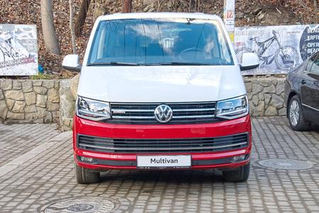 two tone: YAREMCHE, UKRAINE - JANUARY 16, 2016: Two tone colored Volkswagen Multivan. Editorial
