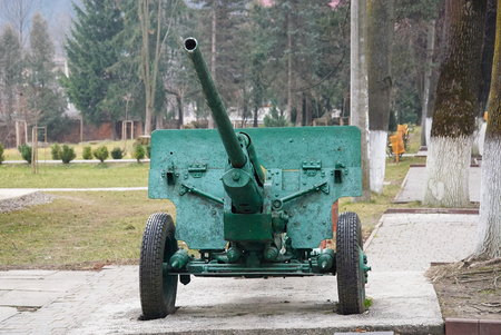 cannon gun: Soviet artillery gun cannon in Yaremche, Ukraine
