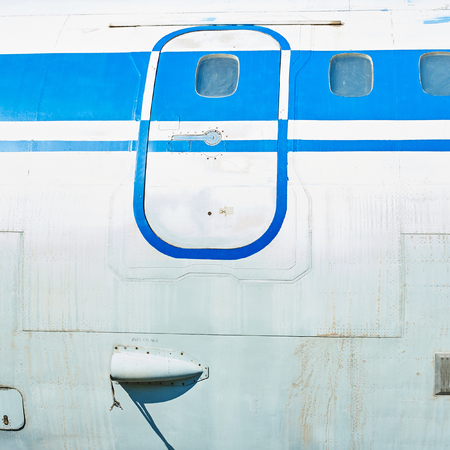 fuselage: Fuselage of old soviet passenger aircraft. Close up