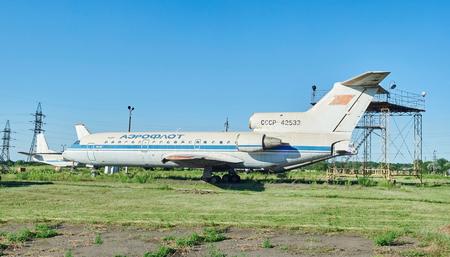 aerodrome: KRIVOY ROG, UKRAINE - FEBRUARY 6, 2016: Old soviet aircraft YAK-42 at an abandoned aerodrome