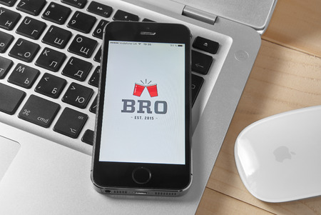 exclusively: KRIVOY ROG, UKRAINE - FEBRUARY 9, 2016: BRO - the worlds leading mobile social network app exclusively for gay. Editorial