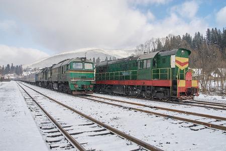 Old diesel passenger trains in Vorokhta, Ukraine