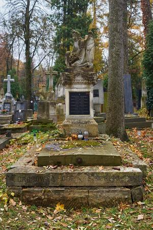 LVIV, UKRAINE - NOVEMBER 10, 2016: Old tombstones in catholic cemetrey. Lviv, Ukraine.