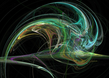 Fractal. Abstract background element. Glowing lines and halftone effects Stock Photo