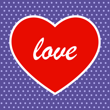 Red heart on violet background with dots. Vector EPS