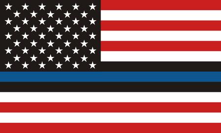 미국 경찰 깃발. 얇은 파란색 선이 있는 미국 국기