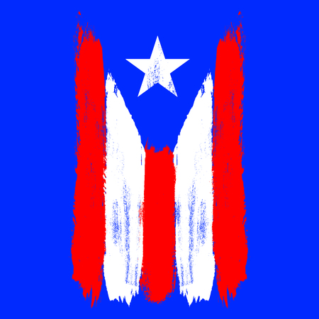 Vertical flag of Puerto Rico. Brush stroke effect. Vector EPS 10