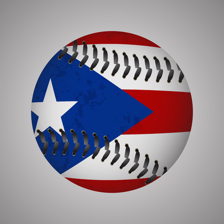 Flag of Puerto Rico in a form of Baseball. Vector EPS 10 Illustration