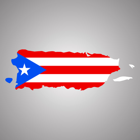 Map of Puerto Rico with flag. Horizontal. Vector EPS 10 Illustration