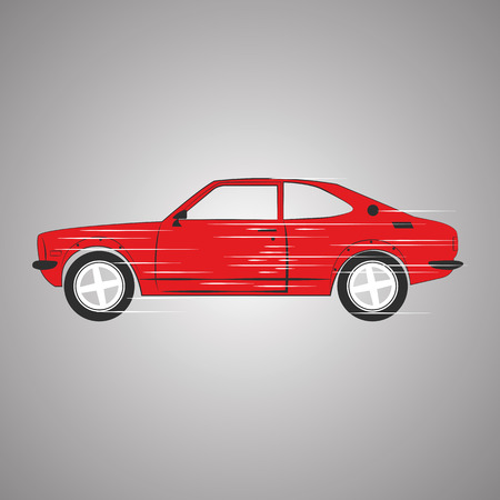 Red retro car. Fast hatchback. Vector EPS 10 Illustration