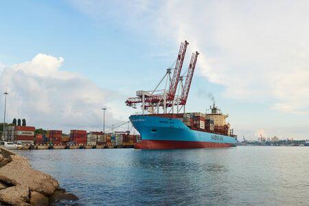 ODESSA, UKRAINE - June 30, 2018: Container ships Maersk Balli in Port of Odessa Editorial