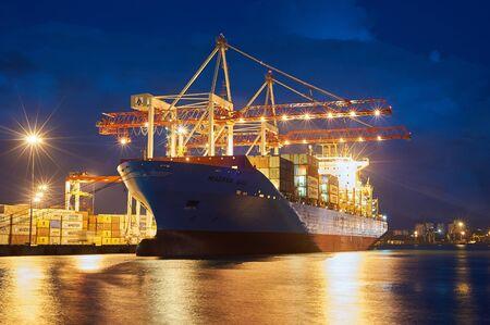 ODESSA, UKRAINE - June 30, 2018: Container ships Maersk Balli in Port of Odessa. Night view