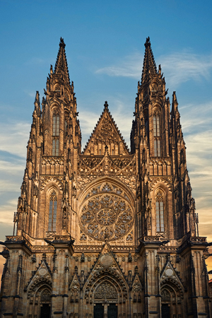 Front view of the Prague Castle at Sunset - Czech republic. Main entrance to the St. Vitus cathedral