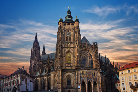 Prague Castle at Sunset - Czech republic. View on the St. Vitus cathedral. Prague Castle area.