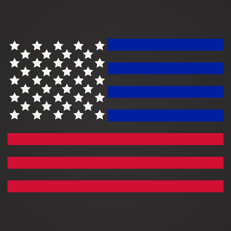 Vector Illustration of Police Department Flag, US Flag, Blue and Red Lines