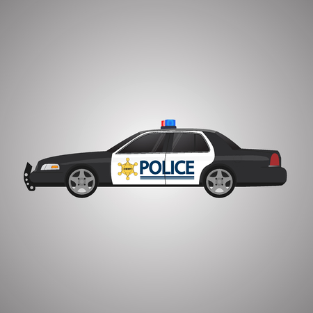 Police car vector, side view. USA Police. Rooftop flashing lights, a siren and emblems. Flat illustration