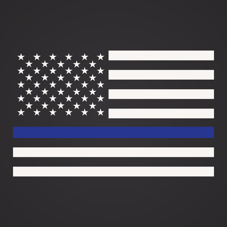 Vector Illustration of Police Department Flag, US Flag, Blue Line