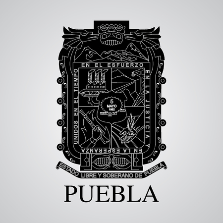 Silhouette of of Puebla Coat of Arms. Mexican State. Vector illustration