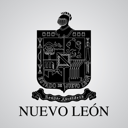 Silhouette of of Nuevo LeonNuevo León Coat of Arms. Mexican State. Vector illustration
