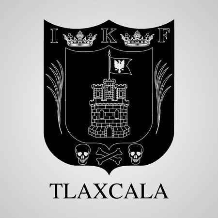 Silhouette of Tlaxcala Coat of Arms. Mexican State. Vector illustration