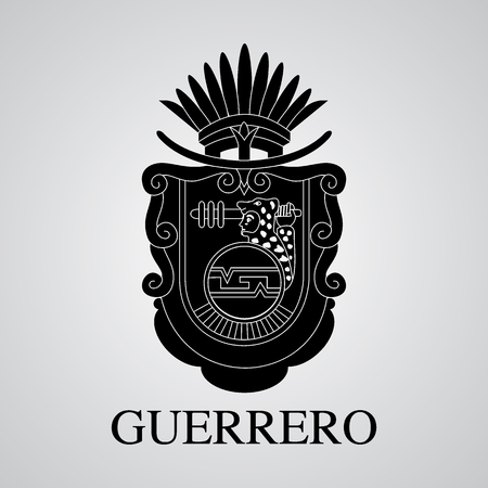Silhouette of Guerrero Coat of Arms. Mexican State. Vector illustration