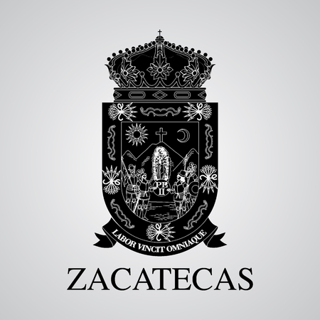 Silhouette of Zacatecas Coat of Arms. Mexican State. Vector illustration
